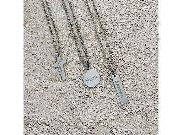 Kruis ketting personaliseren man zilver