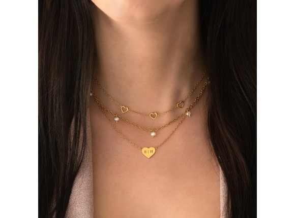 Graveerbare ketting hartje goud