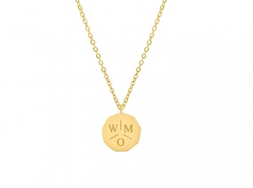 Ketting drie letters gold plated