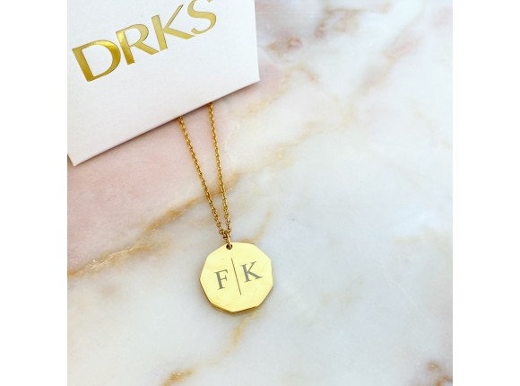 Twee initialen ketting gold plated