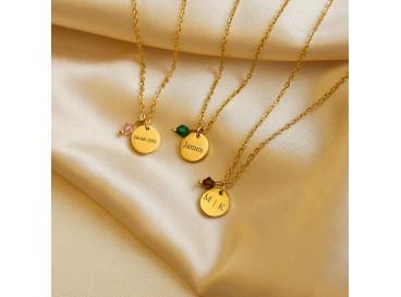 Graveerbare ketting Swarovski birthstone goud kleurig
