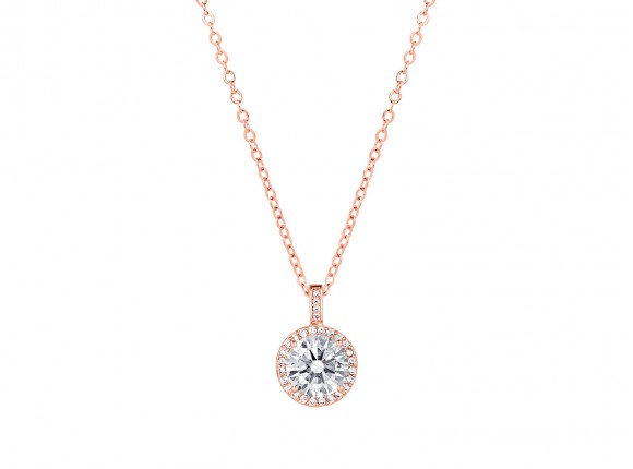 rose gold necklace with zirconia's from DRKS