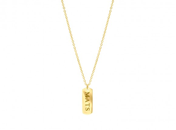 Gold engravable necklace with bar