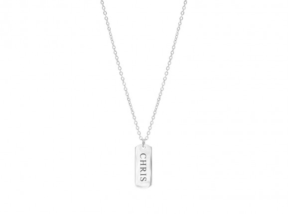 Silver engravable necklace with bar