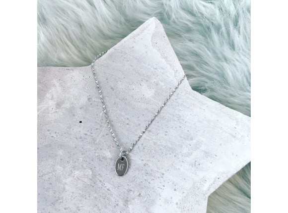 Stainless Steel necklace with engravable oval pendant by DRKS Jewellery