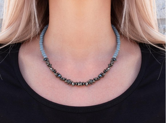 Beautiful statement necklace with hematite and grey facet cut glass beads