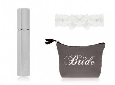 DRKS Bride Beauty Package with toiletry bag, garter and engravable perfume atomizer