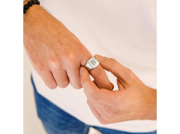 Zegelring heren initial kleur zilver