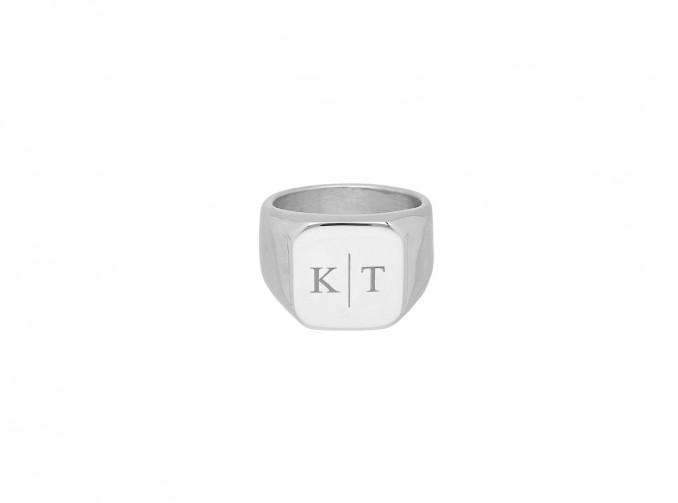 Zegelring heren 2 initials kleur zilver