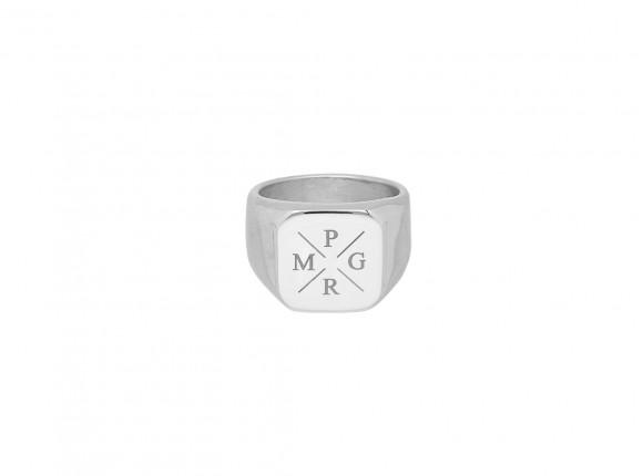 Zegelring heren 4 initials kleur zilver