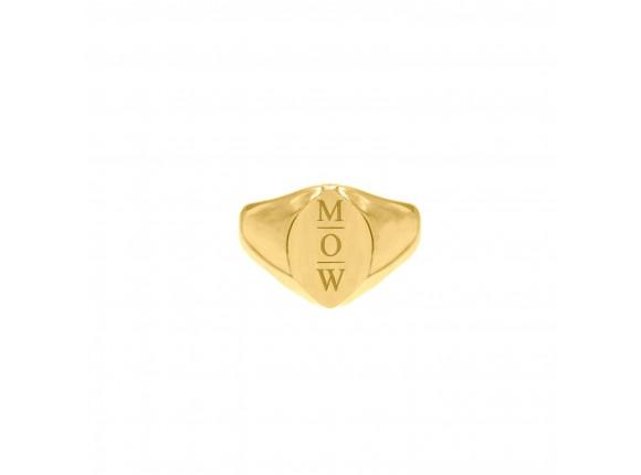 Grote zegelring 3 letters goud kleurig