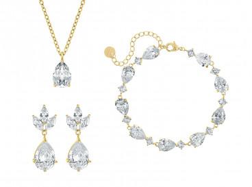 Bruids sieradenset met steentjes goud kleurig