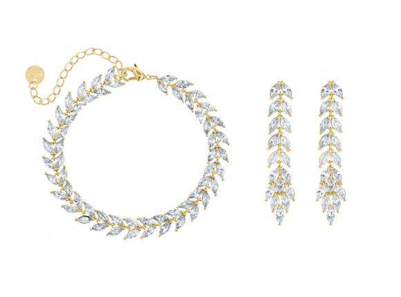 Armband & oorbellen set voor de bruid goud kleurig