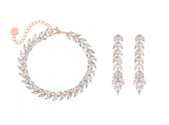 Armband & oorbellen set voor de bruid rose goud kleurig