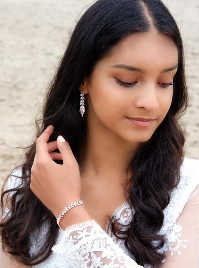 Mooie armband voor de bruid in een rose vergulde kleur