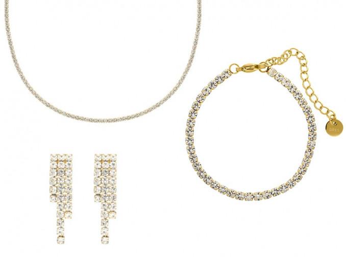 Bruidssieraden set luxury tennis goud kleurig