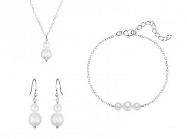 Bruidssieraden set met parels in het zilver