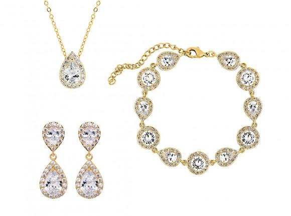 Prachtige sieradenset met oorbellen, ketting en armband