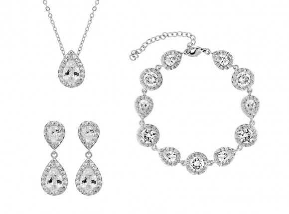 Beautiful earrings, necklace and bracelet with zirkonia