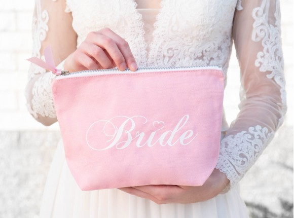 Pink canvas toiletry bag with bride print from DRKS