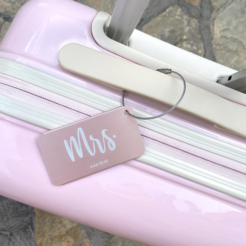 Graveerbare kofferlabel voor haar voor om de tas