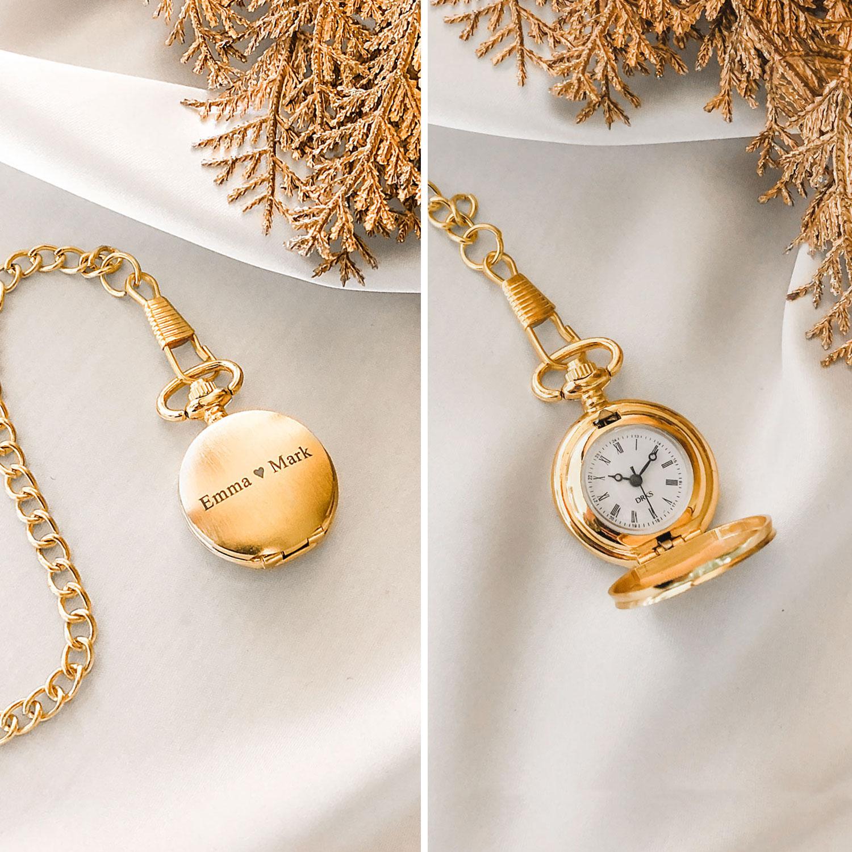 Leuke gouden pocket watch in mini variant om te graveren