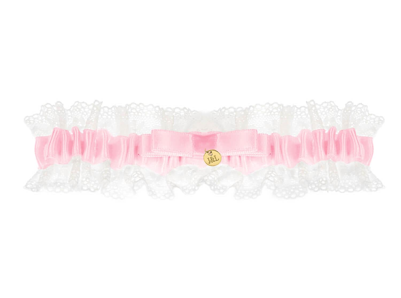 Roze kousenband bruid personaliseren goudkleurig