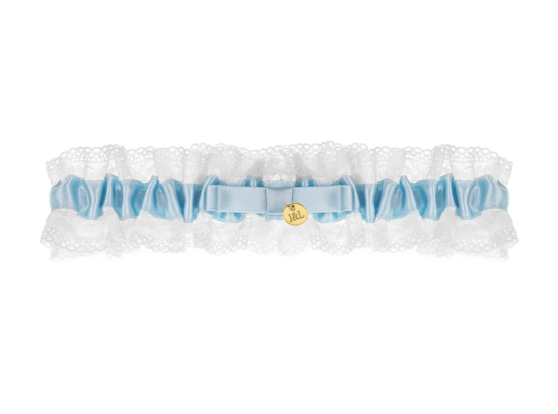 Blauwe kousenband bruid personaliseren goudkleurig