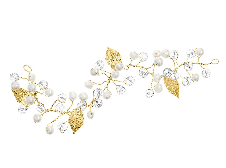 Haarjuweel DRKS met parels en blaadjes in het goud