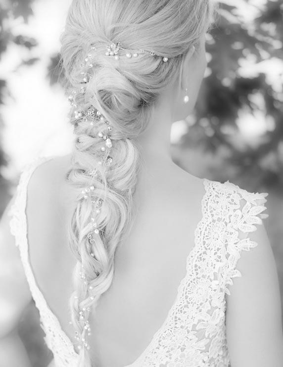 gouden haaraccessoire bruid voor in het haar
