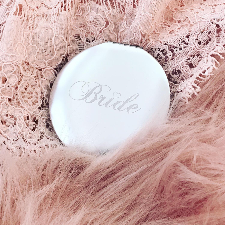 Zilver spiegeltje met Bride tekst graveerbaar met eigen tekst