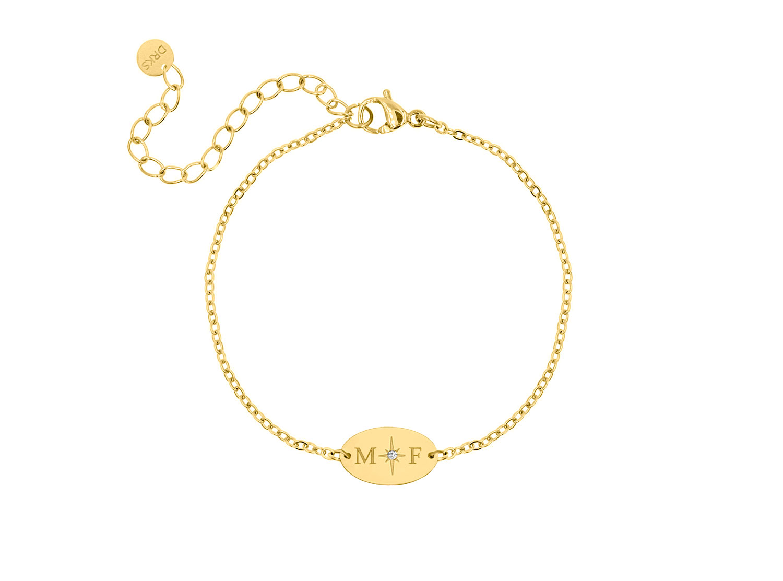 Armband 2 initialen ovaal goud kleurig