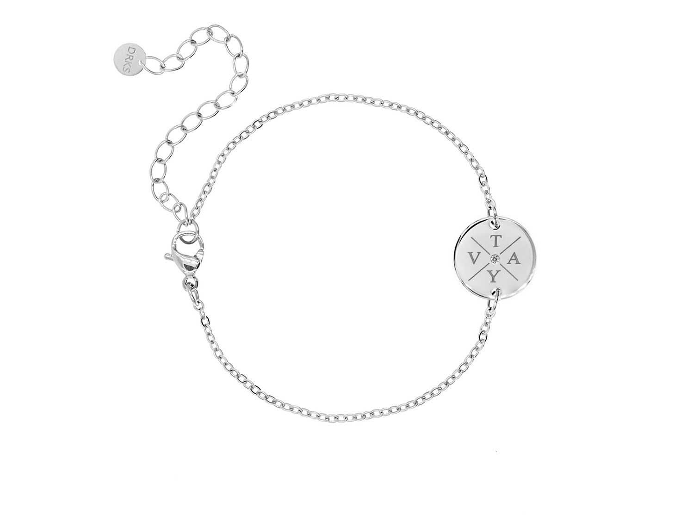 Armband 4 initialen steentje