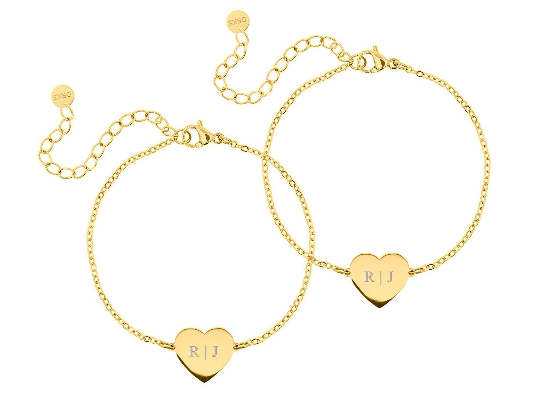 Graveerbare Moeder & dochter armband love kleur goud