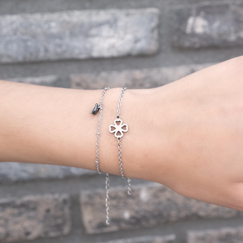 Zilveren Armbandje met hematiet en stainless steel armbandje