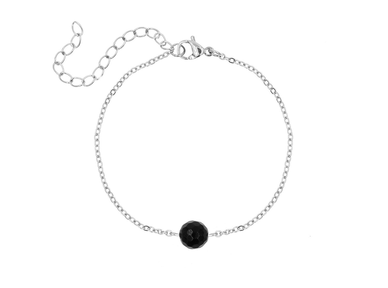Minimalistische Armband Steentje Zwart