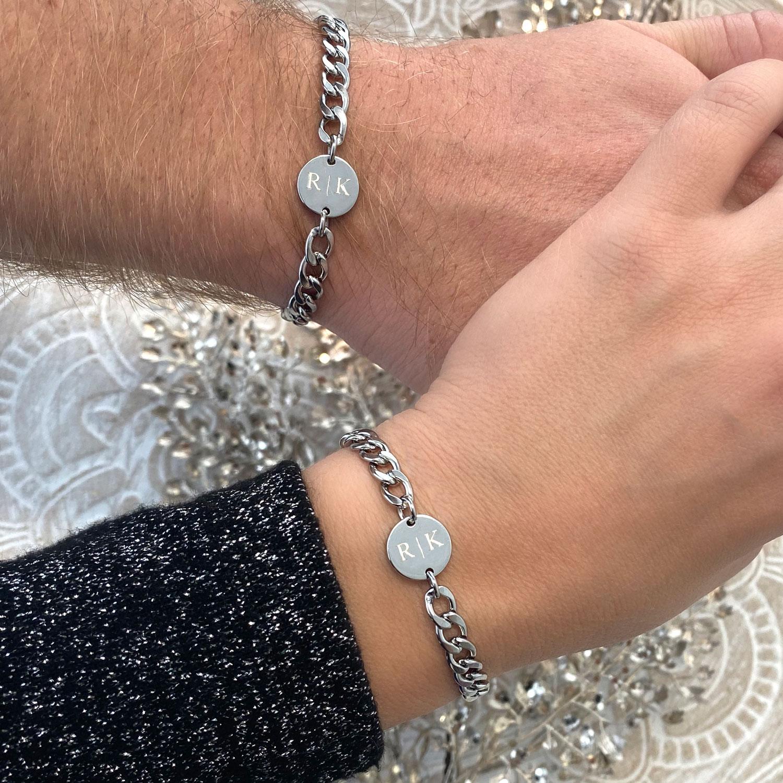 Mooie zilveren armbanden set voor de couples om te delen