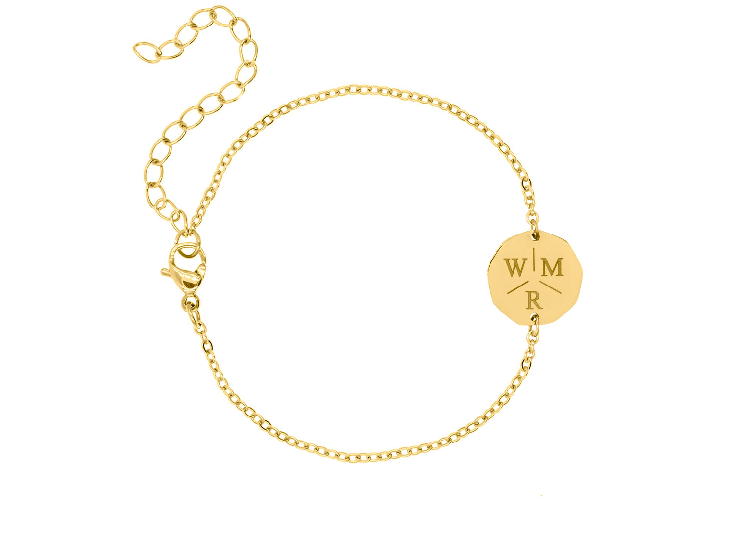 Drie initialen armband gold plated