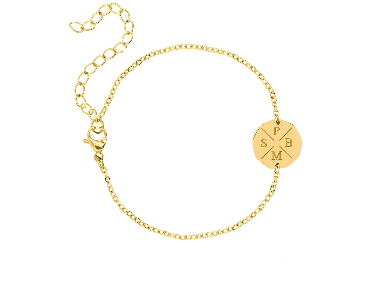 Vier initialen armband gold plated