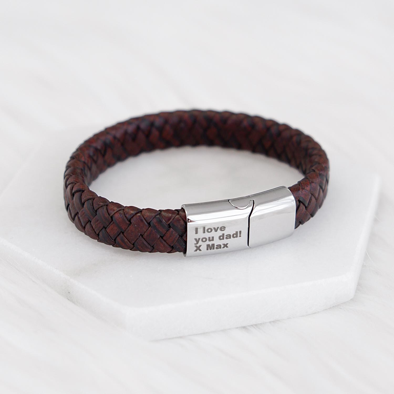 Stoere leren mannen armband