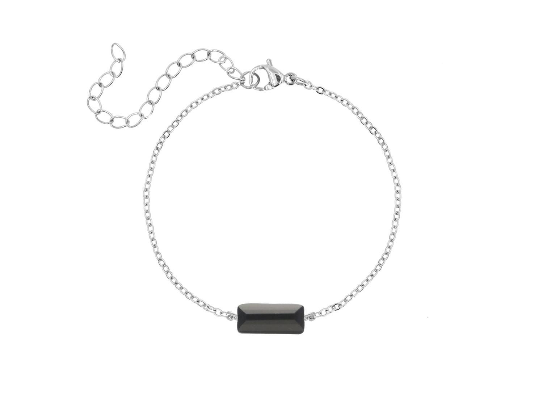 Armband zwart steentje kleur zilver