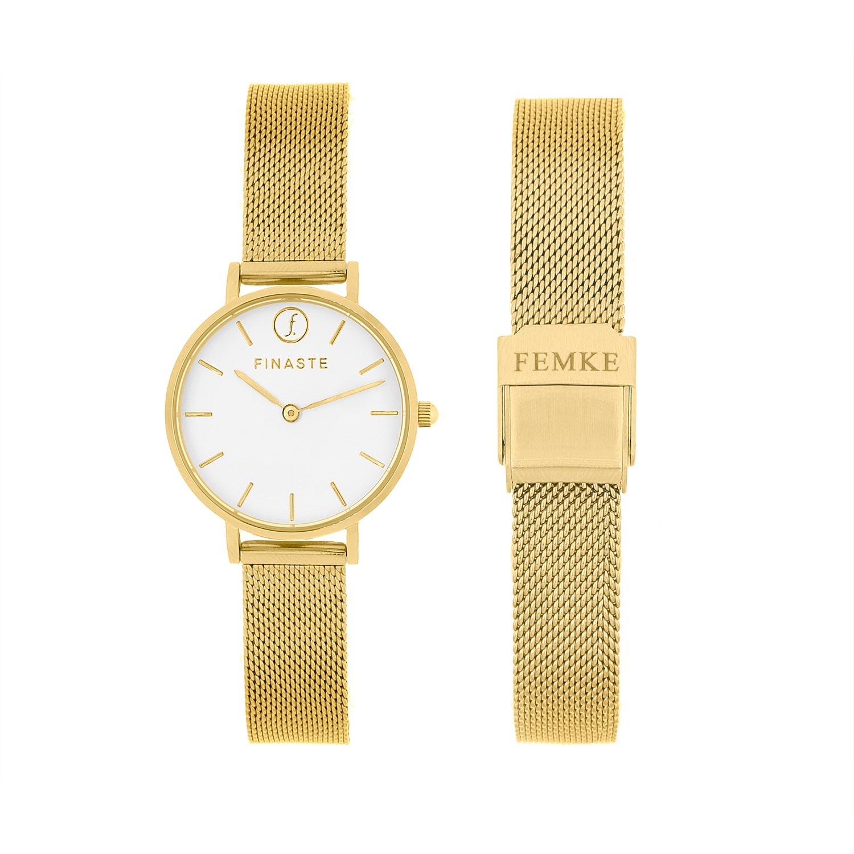 Horloge met jouw naam goud kleurig