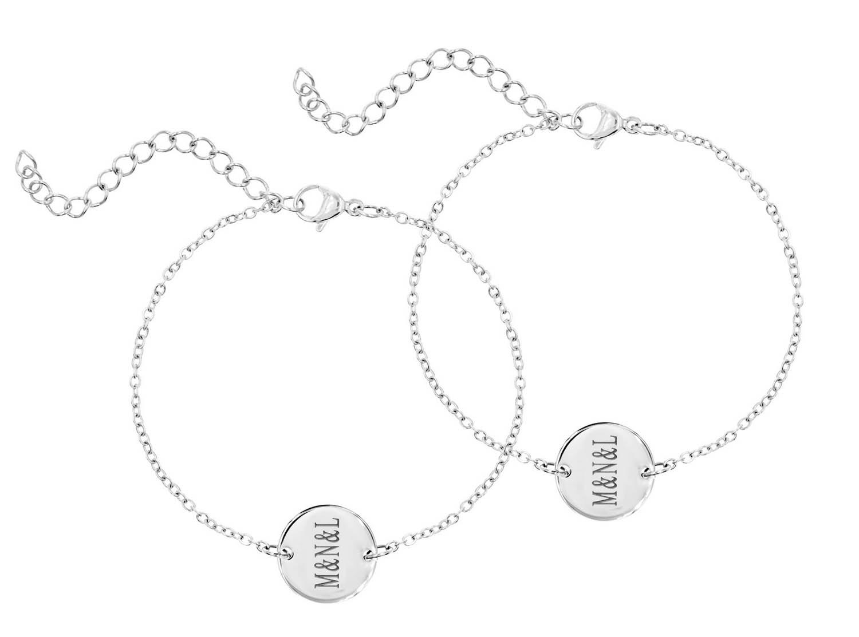 DRKS Graveerbare Moeder & Dochter Armband Zilver
