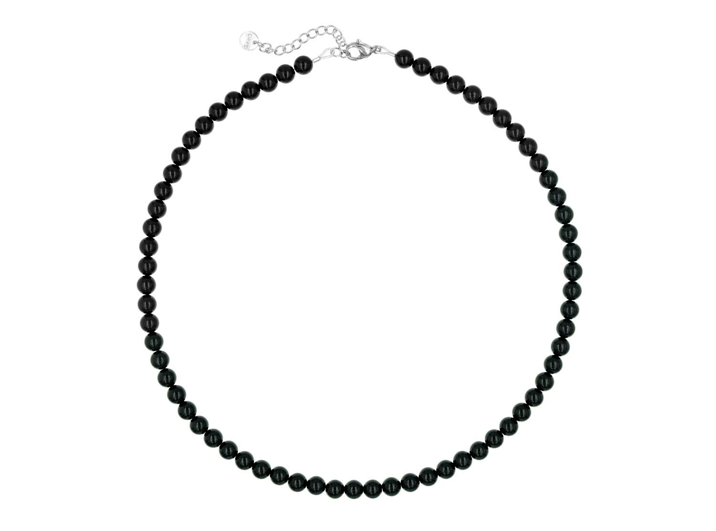 Vrouwelijke, sierlijke ketting met zwarte faux pearls van DRKS