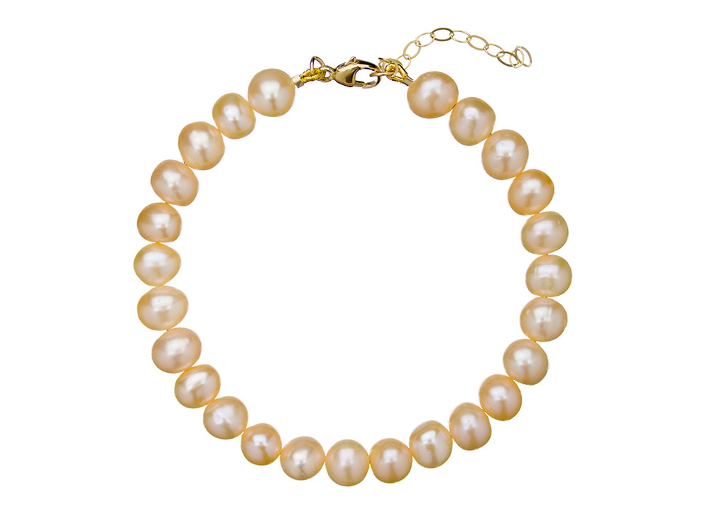 Peach Pearl Armband Goud Kleurig