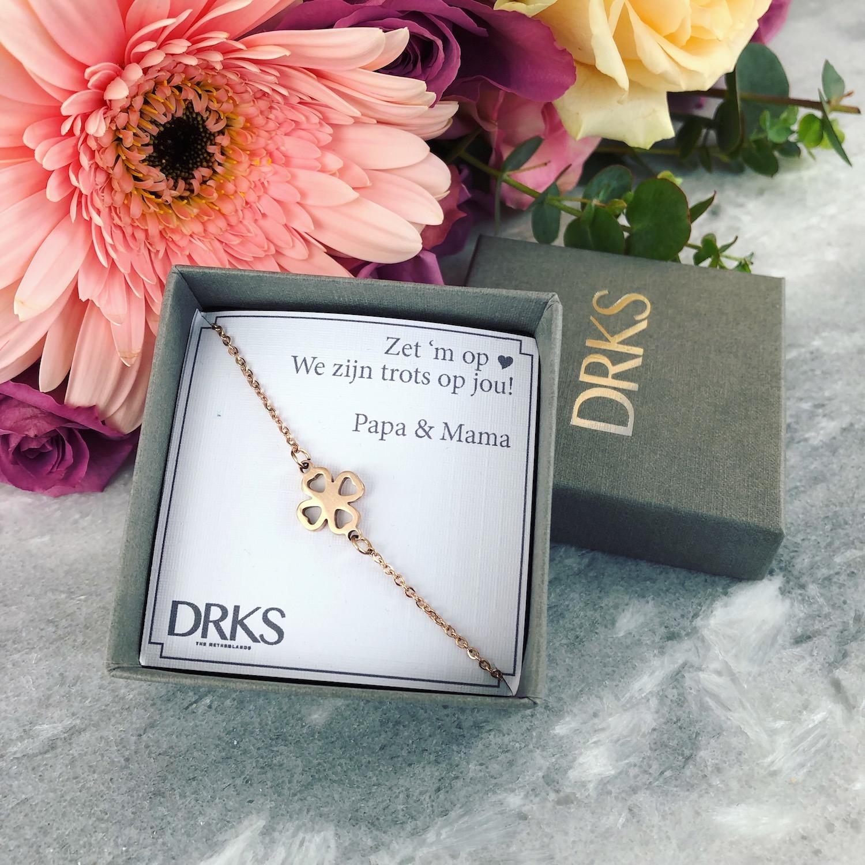 klavertje vier armband in het rose goud