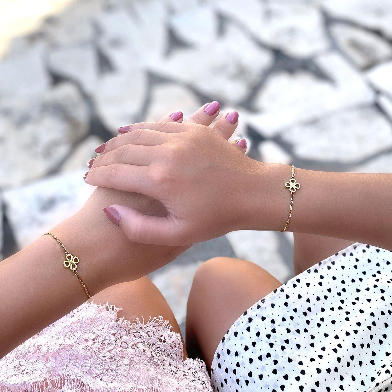 Moeder dochter armband met klavertje om te kopen