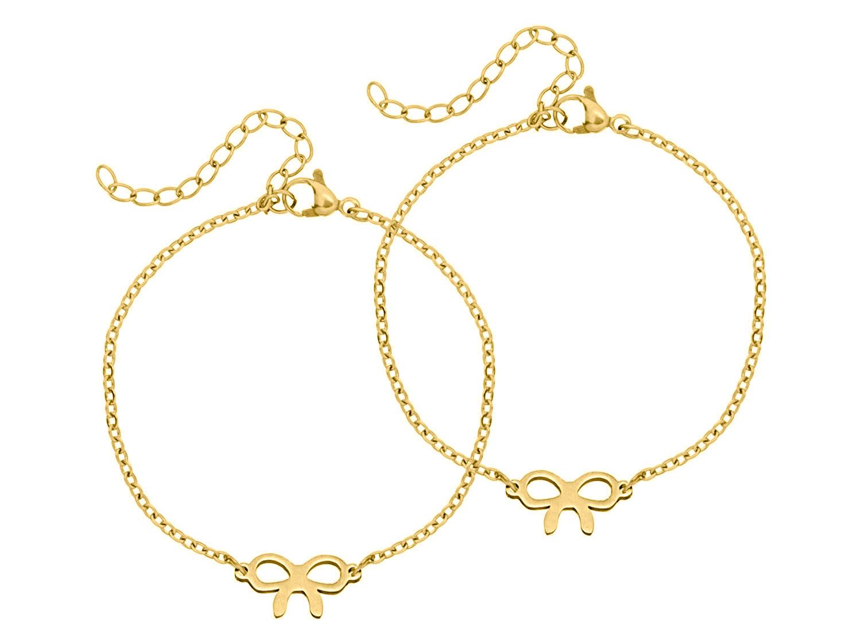 gouden armband met strikje moeder en dochter