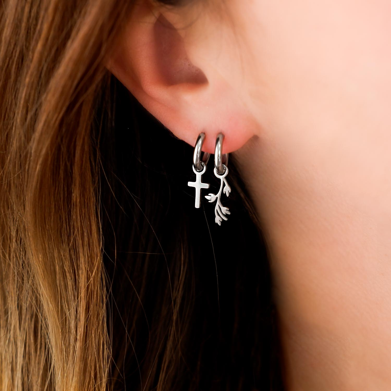 Zilveren oorringetjes met hangertjes combinatie