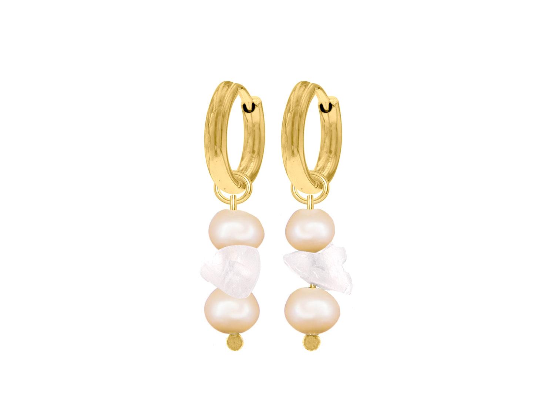 Gouden parel oorbellen met rozenkwarts